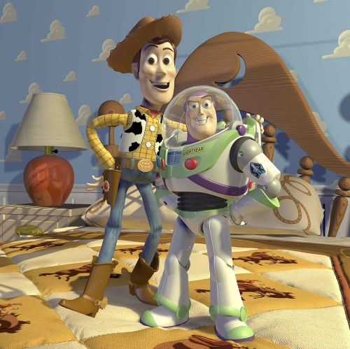 The characters of Woody and Buzz from Toy Story.