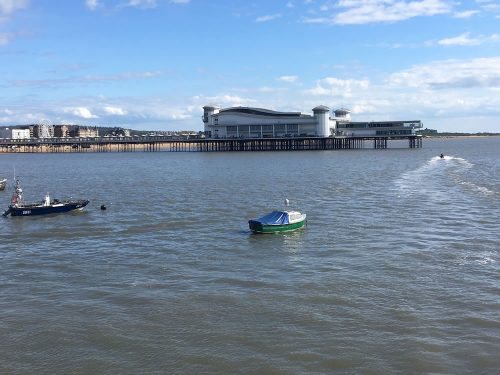 Grand Pier in the sea at Weston-super-Mare