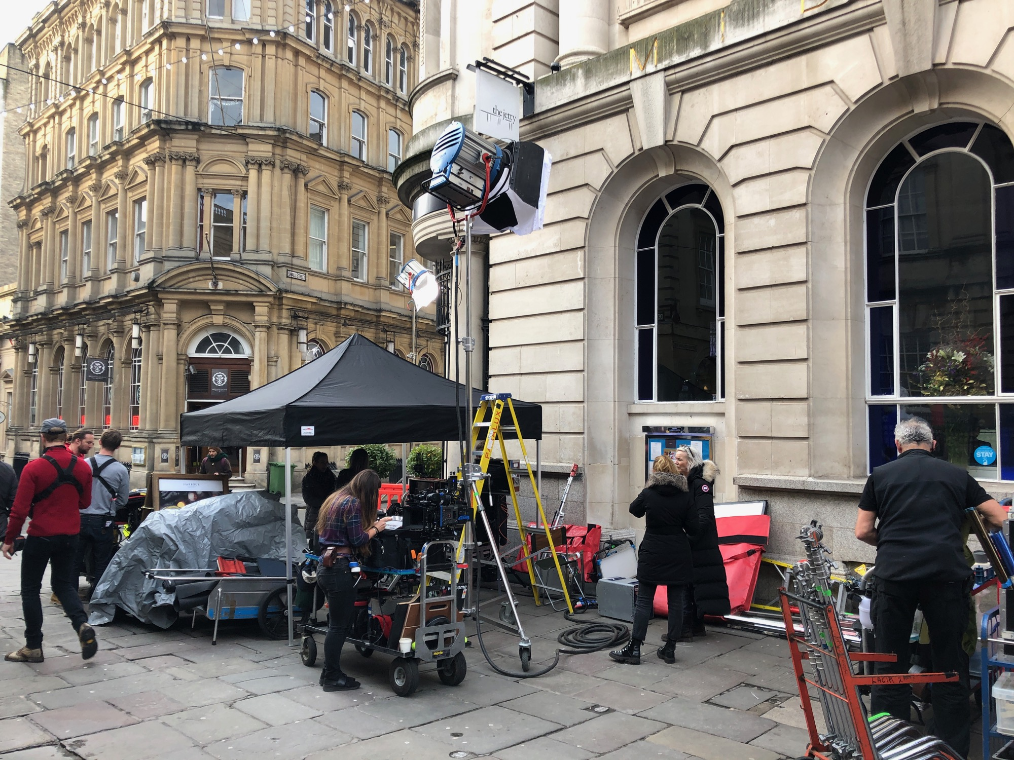 filming on Corn Street in Bristol