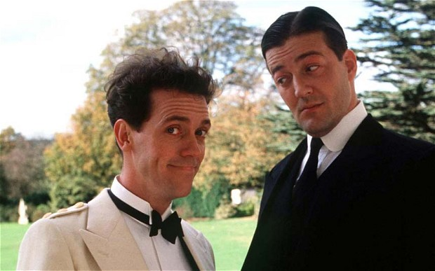 Hugh Laurie as Bertie Wooster and Stephen Fry as Jeeves in an episode from ITV's 90s series 'Jeeves and Wooster' ( Rex Features )