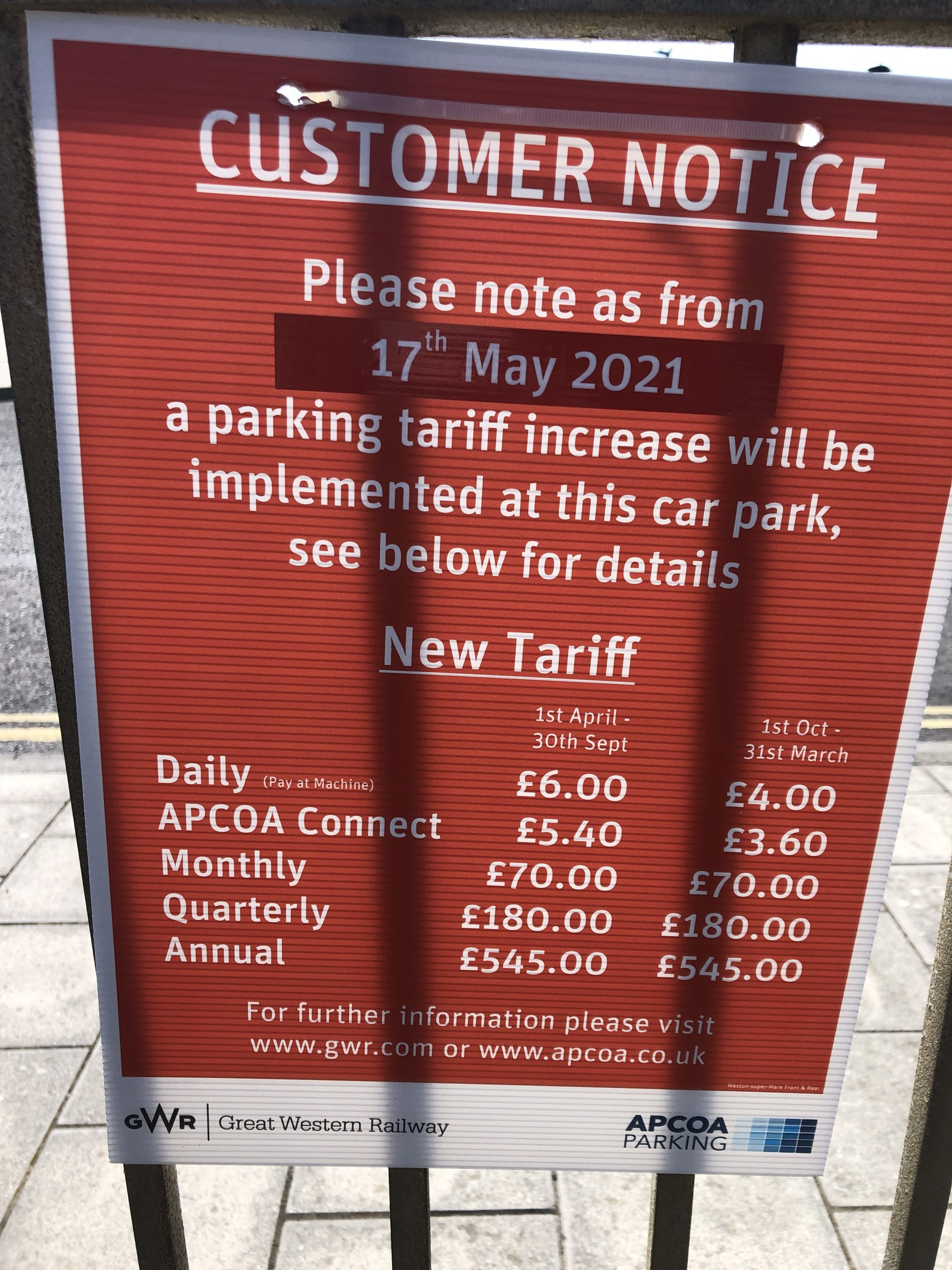 WSM Railway Station cost of parking